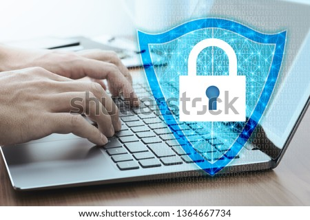Developing network security system. Internet data security concept.