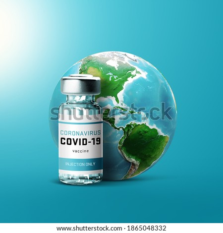 Development and creation of a coronavirus vaccine COVID-19. Coronavirus Vaccine concept world with vaccine bottle. Vaccine Concept of fight against coronavirus.