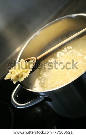 development of a recipe in a saucepan on the fire