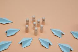 Development of social media platform. SEO promotion. SMM optimization. Management team. Wooden figures, paper planes