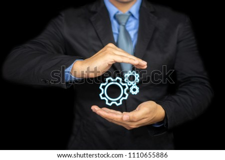 Development Training business education of engineer with a group of gears, Digital Gear icon of BusinessPeople, Cooperation Together Partnership Teamwork with graphics to success relationship concept