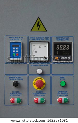 Device control panel of agricultural machinery line.