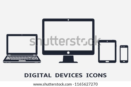 Device icons. Computer, laptop, smart phone and tablet pc