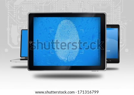 Device Identity Check. Tablet Computer with Fingerprint Screen Check. Identity Check Software.