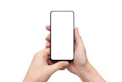 Device mockup, mobile isolated on white. Modern smartphone in hands