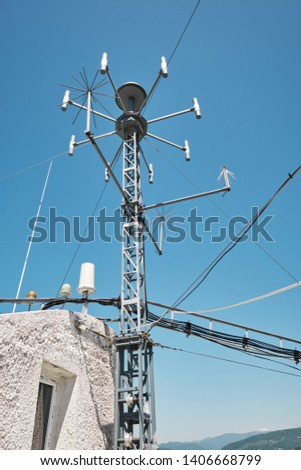 devices for meteorological observations on the roof of the building #1406668799
