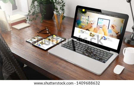 devices ux design website on wooden desktop 3d rendering