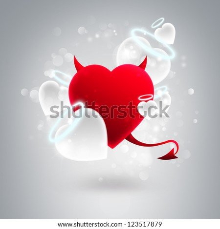 Devil and angel hearts together at silver glitter background. Valentine day greeting card template