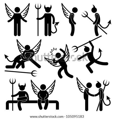 Devil Angel Friend Enemy Icon Symbol Sign Pictogram