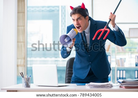 Devil angry businessman in the office ストックフォト ©