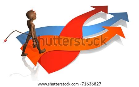 devil's illustration walking on three arrows of colors