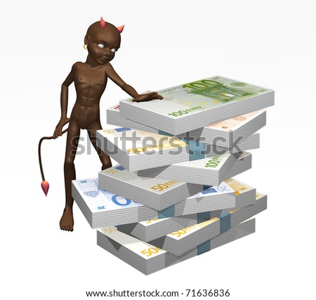 devil's illustration with bundles of notes - stock photo