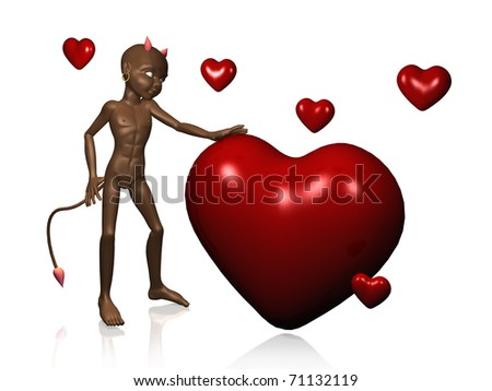 devil's illustration, with red hearts - stock photo