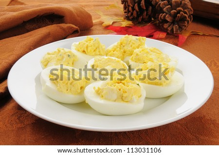 Deviled eggs on a Thanksgiving table