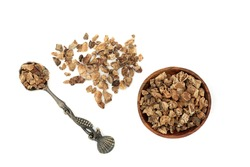 Devils claw root used in herbal medicine to treat arteriosclerosis, arthritis, gout, fibromyalgia, tendonitis, heartburn, migraine, muscle pain and fever. On white background.