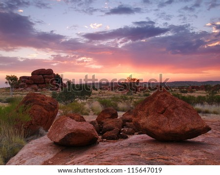 Devils Marbles in sunset