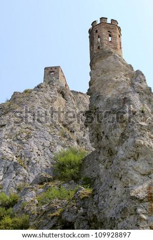 Devin castle near Bratislava (at the border with Austria). Slovak Republic