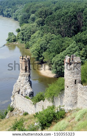 Devin castle tower (near Bratislava at the border with Austria). Slavak Republic