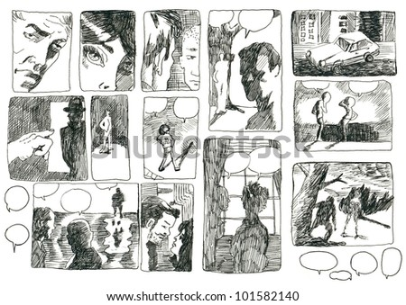 DEVISED COMIX STORYBOARD. Pictures on the classic comix theme. (Original cartoon figures and pictures - drawn with black marker.)