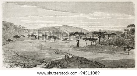 Devra Tabor old view, Abyssinia. Created by Ciceri after Lejean, published on Le Tour du Monde, Paris, 1867