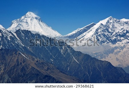 Dhaulagiri - majestic mountain in Himalaya, Nepal. 8,167 meters.