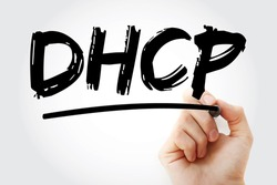 DHCP - Dynamic Host Configuration Protocol acronym with marker, technology concept background