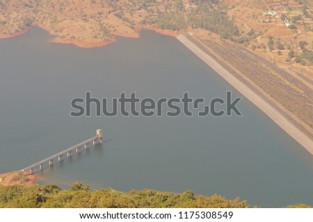 Dhom Dam, a view from Kate's Point at Mahabaleshwar #1175308549