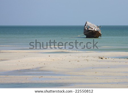 Dhow at low tide (Arabian Gulf)