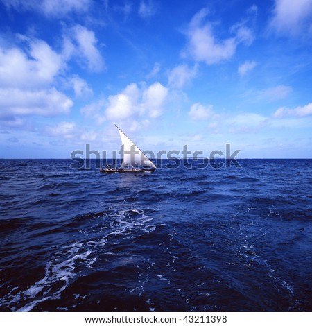 dhow fishing boat on the open ocean