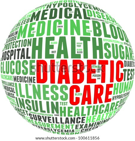 Diabetic health care info-text graphics and arrangement with circle shape concept