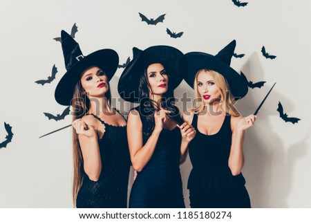 Diabolic, satanic, devil, hex, wiccan exorcist paranormal, dark spirits culture concept. Three hot flirty serious coquettes sorceress supersition spiritualists on white background with bats