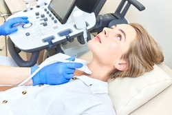 diagnosis of thyroid ultrasound in a woman