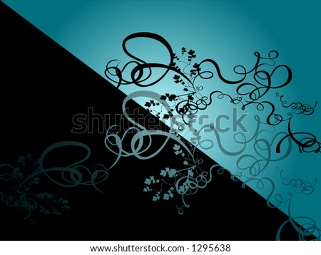 Diagonal black and turqouise abstract background with flowery pattern
