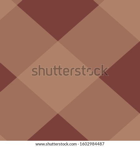 Diagonal brown buffalo plaid tartan background illustration.  12x12 digital paper graphic for page elements and designs.  Larger pattern in medium and darker browns Scottish tartan abstract backdrop.