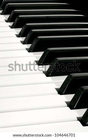 Diagonal close up of Piano Keyboard plenty of white and black space
