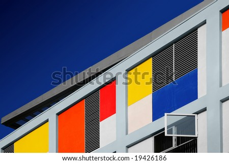 Diagonal composition of a modern colorful building - stock photo
