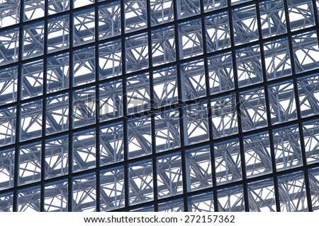 Diagonal lines at glass and metal building structure
