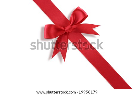 Diagonal red gift bow  on white background
