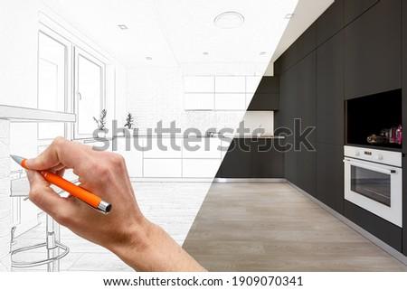 Diagonal Split Screen Of Drawing and Photo of Beautiful New Kitchen. Сток-фото ©