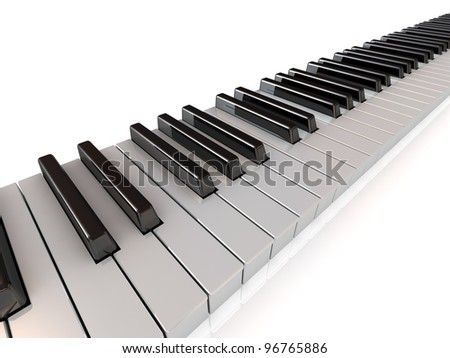 diagonal stripe of piano keys isolated on white
