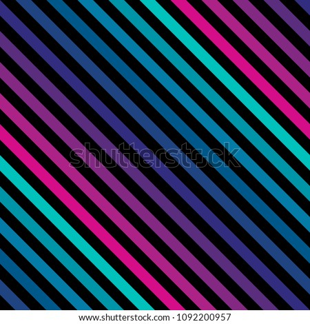 Diagonal stripes seamless pattern in bright colors. Retro 80-90's fashion style background. Repeat colorful slanted lines texture. Abstract geometric decorative design template. - Stock image