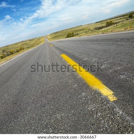 Diagonal view of two lane road in rural South Dakota.