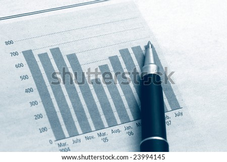 Diagram chart with pen, business and finance concept