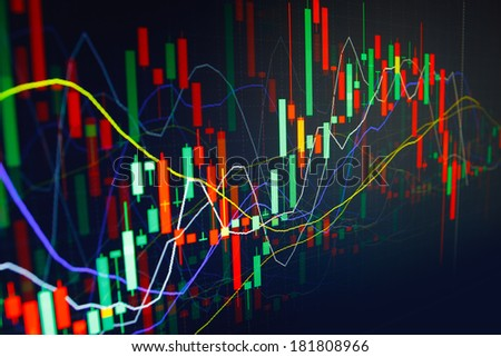 Diagram graph of stock market on a monitor. Finance data concept