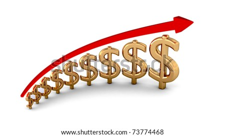 diagram of business success gold dollars isolated with clipping path