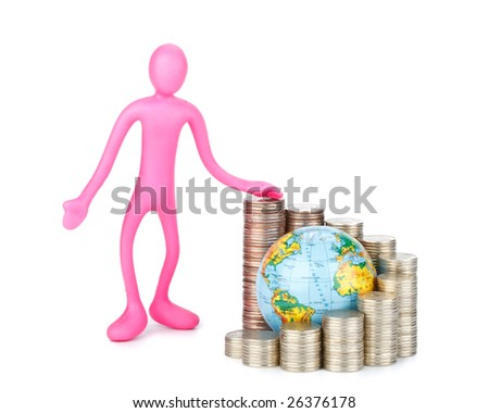 Diagram of growth from coins and globe on a white background. Global business concept.