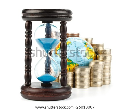 Diagram of growth from coins, hourglass and globe on a white background. Time is money concept.
