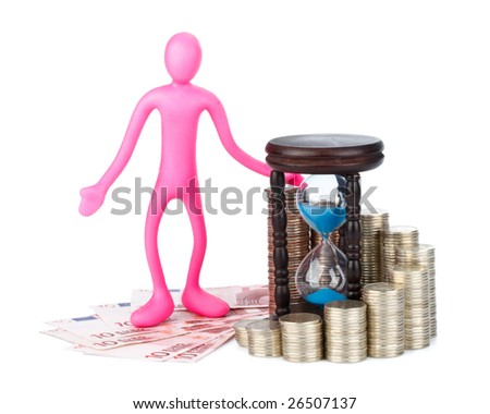 Diagram of growth from coins, hourglass and plasticine businessman on a white background. Time is money concept.