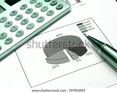Diagram, pen and calculator, photo about reporting (green). - stock photo