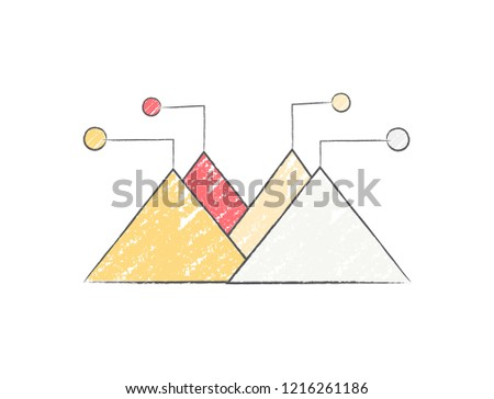 Diagram representing data in form of four colorful triangles for each element of legend. raster illustration of statistics isolated on white background